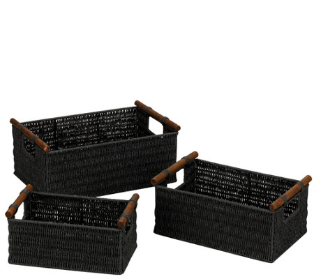 Household Essentials Paper Rope Baskets, Wood Handle - Set / 3