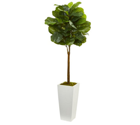 4' Fiddle Leaf Tree in White Tower Planter byNearly Natural