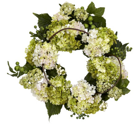 "22"" White Hydrangea Wreath by NearlyNatural"