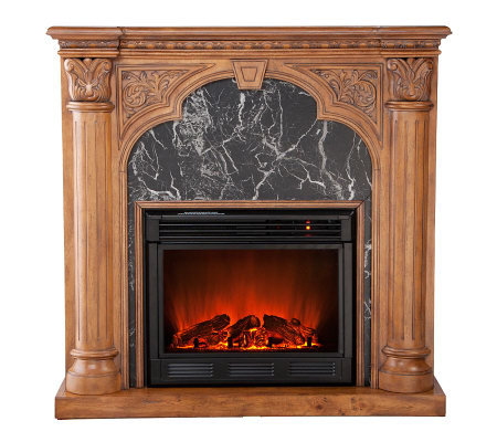 Quincey Electric Fireplace Old World Oak — QVC