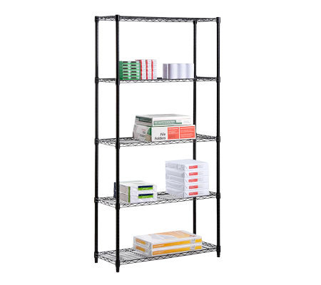 Honey-Can-Do 5-Tier Black Steel Urban Adjustable Shelving Unit