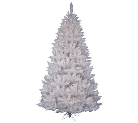 7-1/2' White Sparkle Spruce Tree w/ Dura-Lit Lights