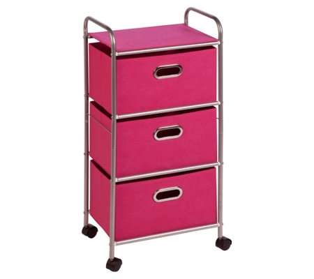 Honey-Can-Do Three-Drawer Fabric Storage Cart -Pink