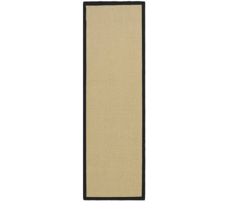 "Serenity Solid Natural Fiber Sisal 2'6"" x 8' Ru g with Border"
