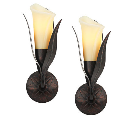 Home Reflections S/2 Flameless Calla Lily Wall Sconces
