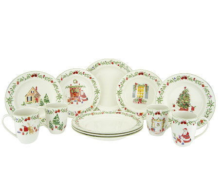 Lenox Holiday Illustrations 12-Piece Porcelain Dinnerware Set