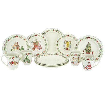 Lenox Holiday Illustrations 12-Piece Porcelain Dinnerware Set  sc 1 st  QVC.com & Lenox Holiday Illustrations 12-Piece Porcelain Dinnerware Set - Page ...