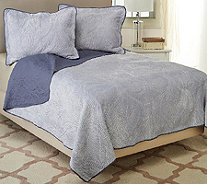 Dennis Basso Rococo FL/QN Quilted Micro Mink Coverlet and Sham Set - H206287