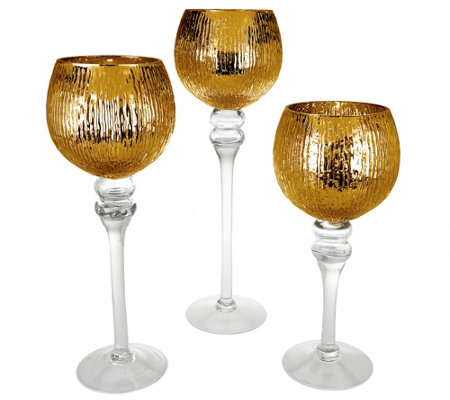 """As Is"" Set of 3 Illuminated Ribbed Goblets by Valerie"