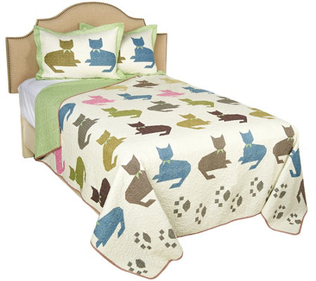 100% Cotton Colorful Cat King Quilt with Shams