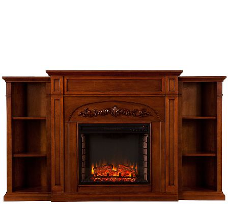 Litchfield Bookcase Electric Fireplace — QVC.com