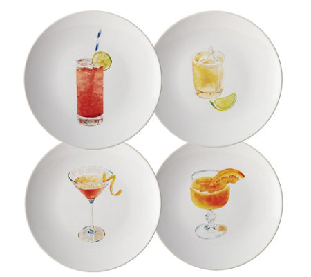 Rachael Ray Cocktails 4-Piece Stoneware Party Plate Set