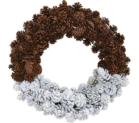 "20"" Pinecone Wreath by Nearly Natural"