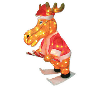 "36"" Outdoor 140 Light 3D Snowy Soft Skating Moose - H352087"