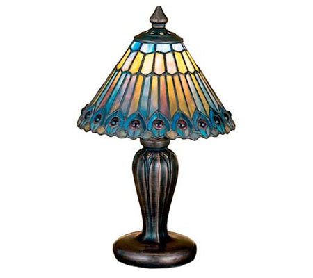 Meyda Tiffany Style Jeweled Peacock Mini Lamp