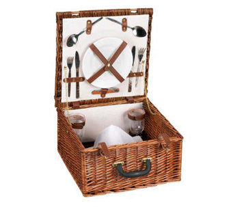 Household Essentials Willow Picnic Basket/LinedService for 2 - H142588