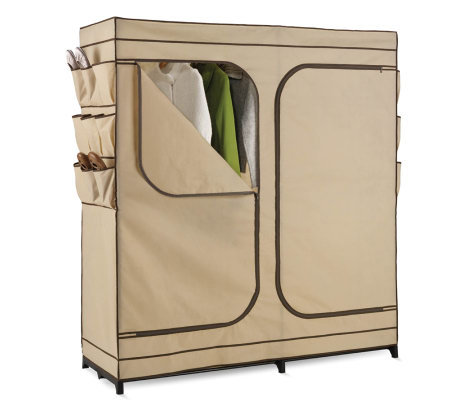 "Honey-Can-Do 60"" Dbl Door Storage Closet w/ShoeOrganizer"