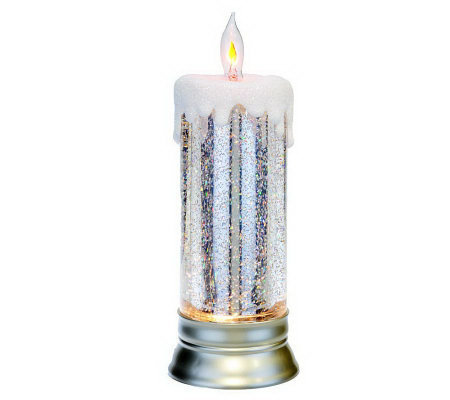"11"" Lit Glitter Candle with Flickering Tip by Valerie"