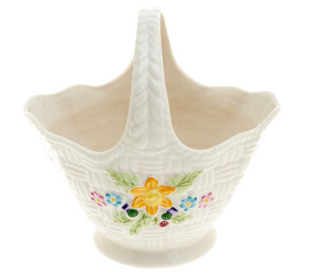 Belleek Yellow Flowered Springtime Basket