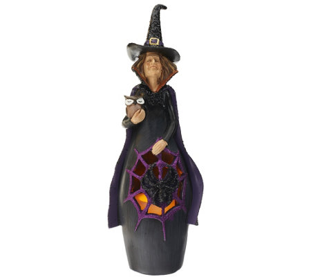 Home Reflections Witch Luminary with Flameless Candle & Timer