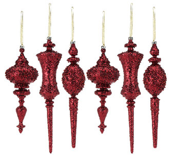 6-Piece Glitter Finial Ornaments - H203688