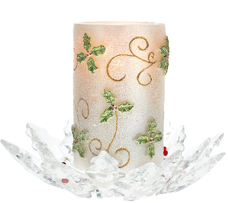 Flameless Glitter Candle w/ Holly Glass Base by Valerie