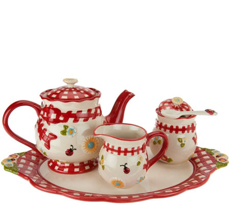 Temp-tations Gingham Garden Tea Set