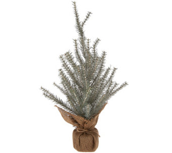 "ED On Air 24"" Faux Glitter Tree w/ Burlap Base by Ellen DeGeneres - H209088"
