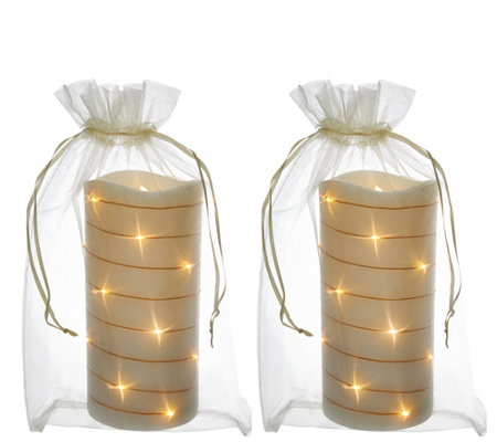 "Lightscapes (2) 7"" Glitter Swirl Light Flameless Candles w/ Bags"