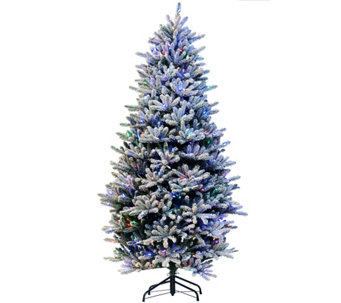 """As Is"" Santa's Best 7.5' RGB 2.0 Flocked Balsam Fir Christmas Tree - H210288"