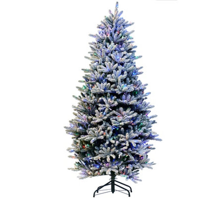 """As Is"" Santa's Best 7.5' RGB 2.0 Flocked Balsam Fir Christmas Tree"