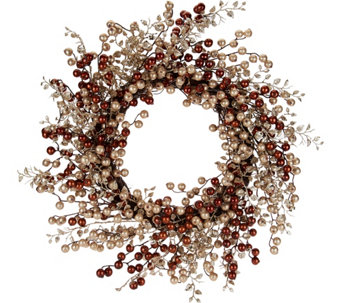 """As Is"" 22"" Glitter Berry Wreath by Valerie - H210488"