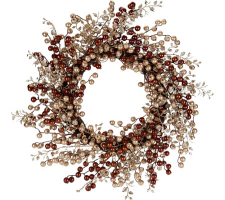 """As Is"" 22"" Glitter Berry Wreath by Valerie"
