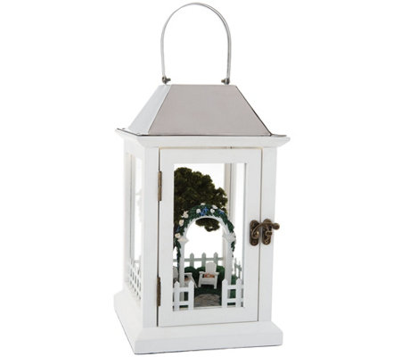 "Illuminated 13"" Lantern with Summer Scene Inside by Valerie"