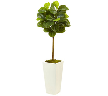 4.5' Fiddle Leaf Fig Tree in White Planter by Nearly Natural