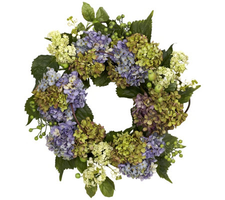 "22"" Purple Hydrangea Wreath by NearlyNatural"
