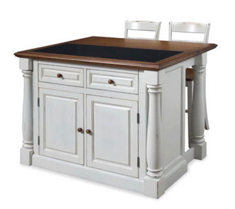 Home Styles Monarch Kitchen Island w/ Granite Top & Two Stool - H353888