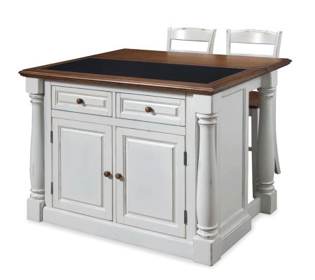 Home Styles Monarch Kitchen Island w/ Granite Top & Two Stool