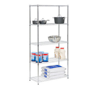 Honey-Can-Do 5-Tier Chrome Steel Adjustable Shelving Unit - H356988