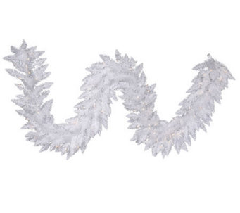 9' White Sparkle Spruce Garland w/ Dura-Lit Lights - H364088