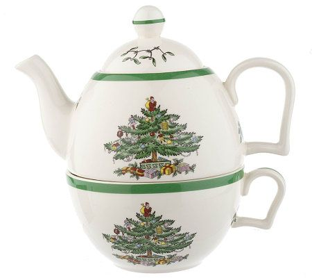 Spode Christmas Tree Tea for One Teapot & Cup Set - Page 1 — QVC.com