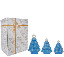 Temp-tations Set of 3 Porcelain Tree Luminaries with Gift Box - H203489