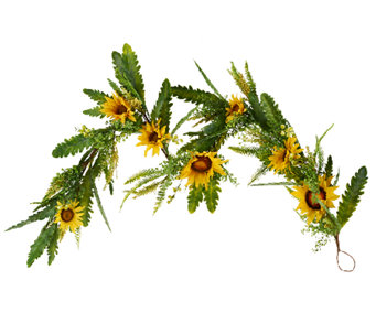 Sunflower, Fern and Berry 5' Garland by Valerie - H204789
