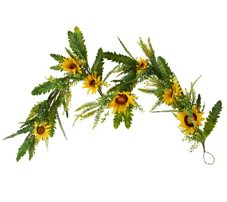 Sunflower, Fern and Berry 5' Garland by Valerie