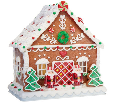 "Choice of 9"" Illuminated Gingerbread House by Valerie"