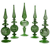 Set of 5 Elegant Mercury Glass Finials - H205989