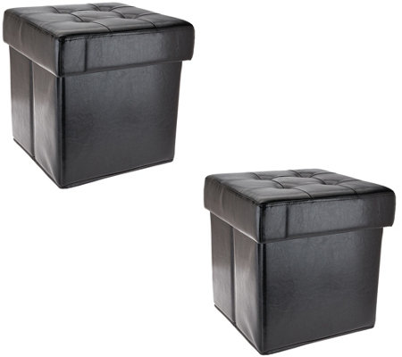 Set of 2 Faux Leather Fold-up Storage Ottomans w/Tray by Valerie