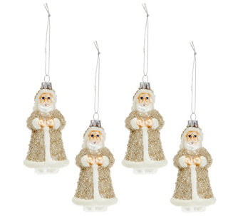 """As Is"" Set of 4 Embellished Glass Vintage Inspired Ornaments - H208289"