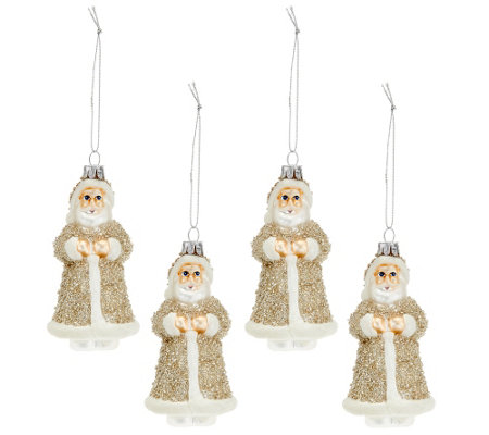 """As Is"" Set of 4 Embellished Glass Vintage Inspired Ornaments"