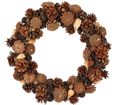 """As Is"" Ed On Air Natural Rustic 17"" Pinecone Wreath Ellen DeGeneres"